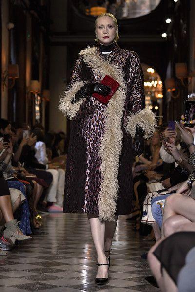 Gwendoline Christie walks the runway during Miu Miu 2019 Cruise Collection Show at Hotel Regina.
