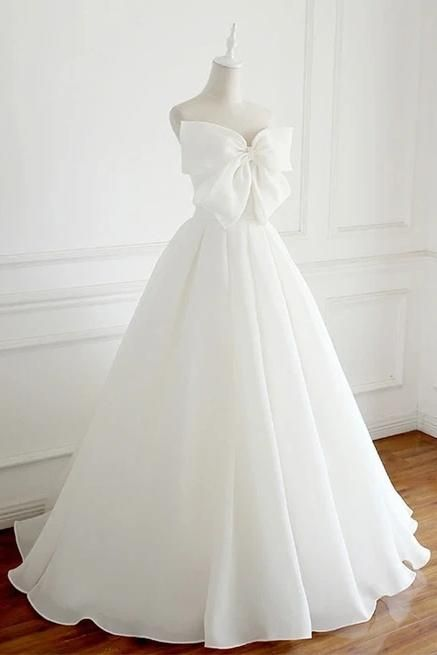 Charming Long Simple Ivory Wedding Dresses Bridal Gown With Bowknot Y0061 - Custom Size / Custom Color
