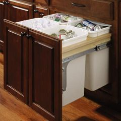 built in garbage containers kitchen ideas pinterest kitchens rh pinterest com Trash and Recycle Bin Cabinets kitchen cabinets recycle bins