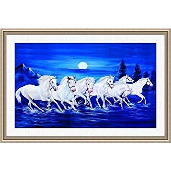 Shine India White Seven Horses Painting As Per Vastu On 410 Gsm