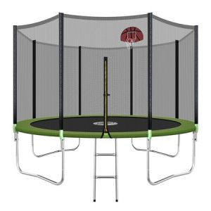 Genki 12ft Round Kids Trampoline Set With Safety Enclosure Net Basketball Hoop Ladder Trampoline Kids Trampoline Basketball Net