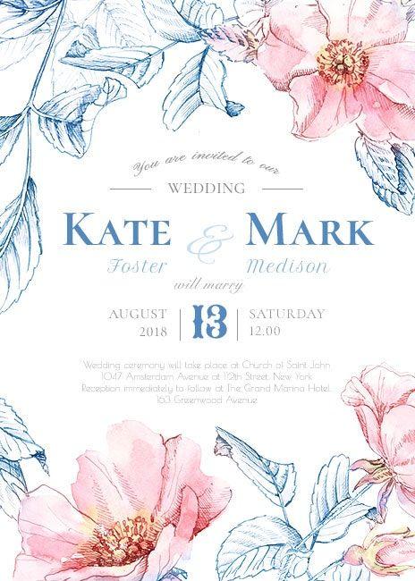 Elegant Wedding Invitations Personalised Watercolor Wedding