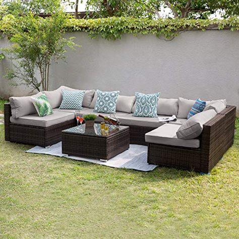 Strange Tribesigns 7 Pcs Patio Furniture Sectional Sofa Set Extra Ibusinesslaw Wood Chair Design Ideas Ibusinesslaworg