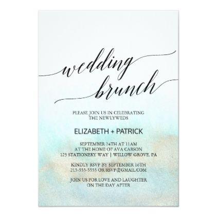 Aqua And Gold Watercolor Beach Wedding Brunch Invitation Zazzle Com Beach Engagement Party Wedding Brunch Invitations Beach Watercolor