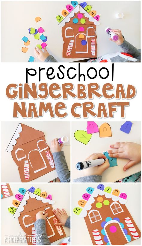 Gingerbread name craft Gingerbread Man Activities, Preschool Christmas Activities, Gingerbread Crafts, Preschool Themes, Christmas Crafts For Kids, Activities For Kids, Winter Preschool Crafts, Gingerbread Men, Daycare Crafts