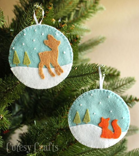 DIY Felt Deer and Fox Christmas Ornaments with Pattern