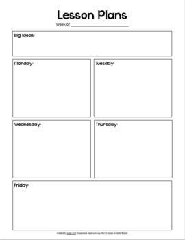 Basic Lesson Plan Template No Pictures Teacher Lesson Plans