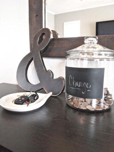 By the back door...love the change jar.