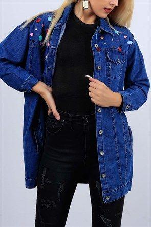 Pul Detayli Mavi Bayan Kot Ceket 10401b Kot Ceket Stil Kiyafetler Kiyafet