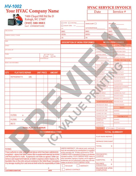 This HVAC Flat Rate invoice has space for 3 units serviced along - hvac invoice sample