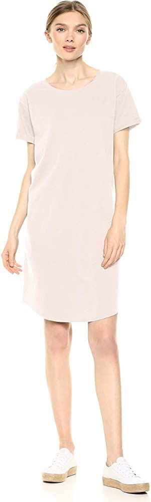 Daily Ritual Womens Lived-in Cotton Roll-Sleeve V-Neck T-Shirt Dress Brand