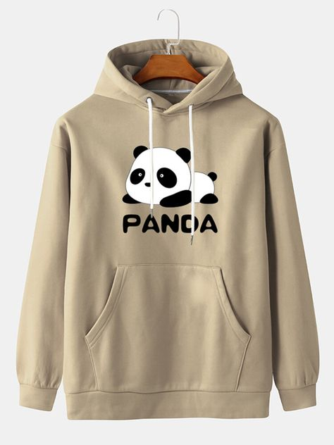 Jersey con estampado Cute Baby Panda para hombre Capucha con bolsillo canguro