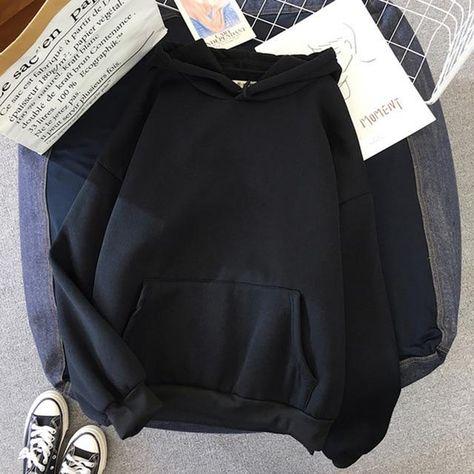 Unisex Oversized Sweatshirt Printed Hoodded Full Sleeve - Black / L