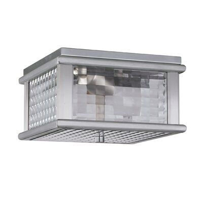 Feiss Mission Lodge 2 Light Flush Mount Finish Brushed Aluminum Bulb Type Incandescent Ceiling Fixtures Open Living Area Outdoor Lighting