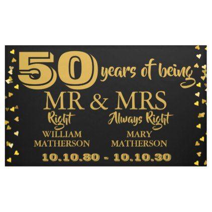 Mr Mrs Right Fun Golden 50th Wedding Anniversary Banner Zazzle Com Golden Wedding Anniversary Anniversary Banner Golden Wedding