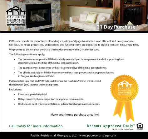 21 Day Purchase Promise wwwpacresmortgage 800-318-4571 - home purchase agreement