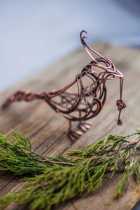 Copper Bird with garnet key sculpture Wire by UrsulaJewelry