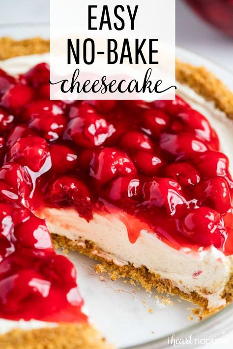This No-Bake Cheesecake Recipe is perfect for beginners! Only 5 ingredients and absolutely no baking. It's everything a cheesecake should be.silky, smooth, light, creamy and decadent! # no bake Desserts No-Bake Cheesecake Easy No Bake Cheesecake, Baked Cheesecake Recipe, Homemade Cheesecake, No Bake Desserts, Easy Desserts, Dessert Recipes, No Bake Cheescake, Raspberry Cheesecake, Cherry Desserts