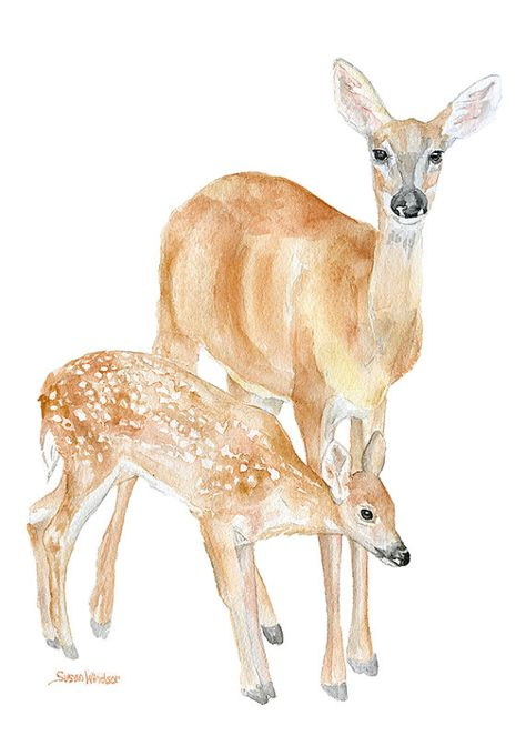 Doe and Fawn Watercolor Painting 5x7 Giclee Print Reproduction