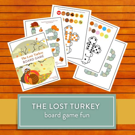 Have fun finding the escaped turkey in time for Thanksgiving dinner...PLUS! BONUS extra die, game tokens, and blank board game so your kids can have hours of fun making their own Thanksgiving game and turn their creativity loose!
