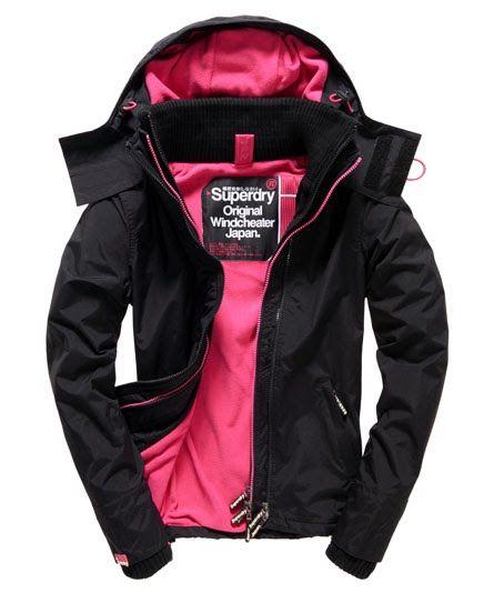 Superdry Pop Zip Hooded Arctic Windcheater Jacket Black
