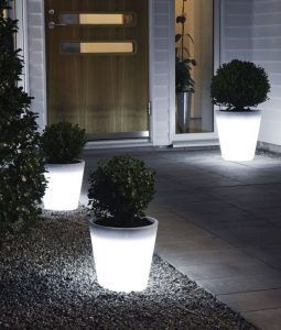 17 Illuminated Planters How To Make A Glowing Romantic Backyard With Images Garden Lighting Design Solar Lights Garden Modern Planters Outdoor