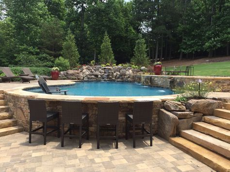 Pool decks are the hardscape areas that surround the pools. They prevent the bar. - Pool decks are the hardscape areas that surround the pools. They prevent the bare feet from steppin - Small Swimming Pools, Swimming Pools Backyard, Swimming Pool Designs, Small Pools, Semi Inground Pools, Lap Pools, Indoor Pools, Backyard Pool Landscaping, Backyard Pool Designs