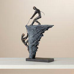Mikkelson Figurine Distressed Painting Climbing Man Sculpture Floor Vase