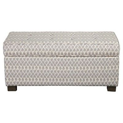 Remarkable Homepop Gray Diamond Collection Storage Bench Gray And Alphanode Cool Chair Designs And Ideas Alphanodeonline