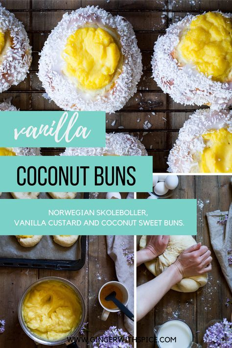 Vanilla custard and coconut sweet buns – taking everything to the next level. Sweet, fluffy and moist sweet buns with a woody and creamy vanilla custard center, drizzled in a thin layer of sugar frosting and shredded coconut – it has it all, and you'll be sorry if you don't try it. #skoleboller #scandinavian #norwegian #buns #vanillacustard #baking #coconut