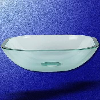 Tempered Glass Vessel Sink With Drain, Clear Square Mini Bowl Sink