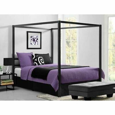Queen Size Gray Grey Metal Canopy Bed, Modern Canopy Queen Metal Bed Instructions