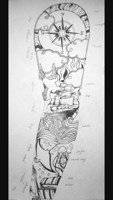 36 Trendy Ideas For Tattoo Sleeve Ideas For Men Drawing Design Nautical Tattoo Sleeve Ocean Sleeve Tattoos Sleeve Tattoos