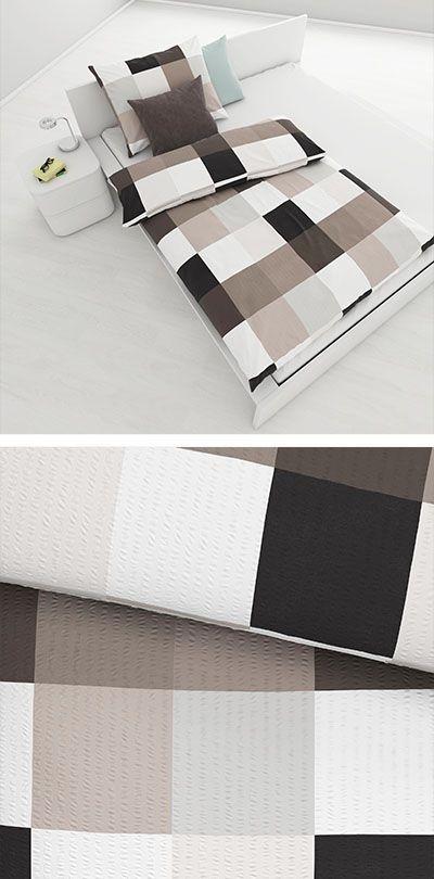 Bettwasche Taupe Mit Karo Muster 140x200 Bettwasche Wasche Bett