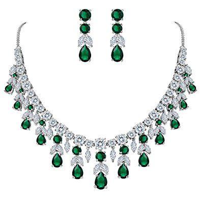 90905ab4d1cdf0 BriLove Women's Wedding Bridal CZ Cluster Leaf Teardrop Statement Necklace  Dangle Earrings Set Review