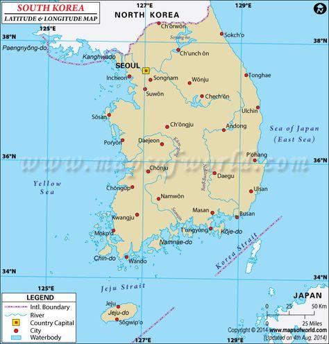 South Korea Latitude And Longitude Map With Images Latitude