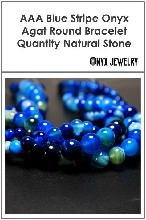 Blue Stripe Onyx Agat Natural Stone Beads For Jewelry Making Diy Bracelet N Aaa