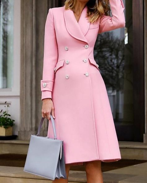 Solid Double-Breasted Long Sleeve Dress 2019