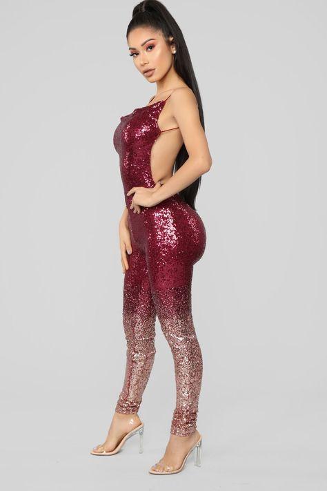 Wynn Sequin Jumpsuit - Burgundy/Rose Gold