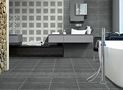 In This Image Dark Grey Field Tile Accented With 2x2 Mosaics Ivory And Dark Grey Wall And 12x18 Murettos Flo Dark Grey Walls Grey Field Tile Grey Walls