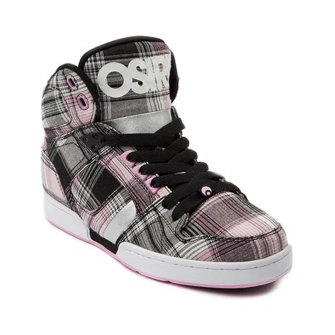 Shop for Womens Osiris NYC 83 Slim Skate Shoe in Gray Pink Plaid at Journeys Shoes. Shop today for the hottest brands in mens shoes and womens shoes at Journeys.com.High-top skate shoe from Osiris featuring a plaid textile upper and padded tongue and collar for comfort. Available exclusively at Journeys and SHI! !Please note that this shoe runs small; please order one size up.