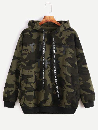Camo Letter Print Hooded Drop Shoulder Pockets Sweatshirt — € color: Green size: one-size