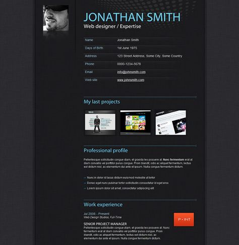 Cool way to be awesome online! Responsive Vcard Template - resume html template