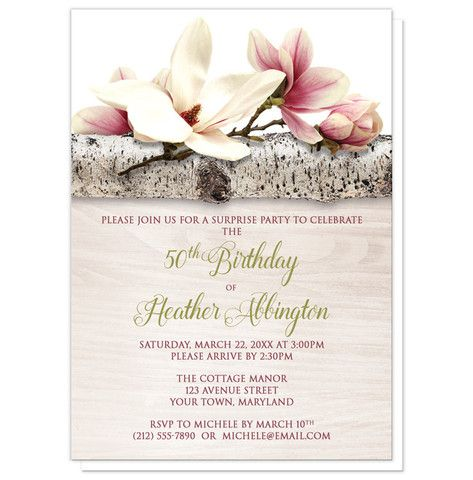 Celebrate your mother's milestone 50th birthday this year with these lovely magnolia birch birthday invitations. They can be worded for any birthday celebration or occasion, for any year. These beautiful pink and white floral invites are a wonderful way to celebrate and honor the woman who means so much to you. Any milestone, any celebration.