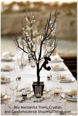 Tree In Pot 4 Feet Tall Black Bendable In 2020 Winter Wedding Table Wedding Table Decorations Wedding Decorations