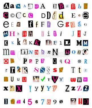 Ransom note generator. Cut and torn out font from newspapers and magazines. This is another image by Jeroen van Oostrom Studiojeroen.com  Royalty Free Stock Photo