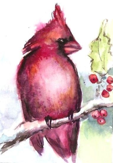Winter snow cat red bird cardinal folk art Criswell ACEO print of painting gift