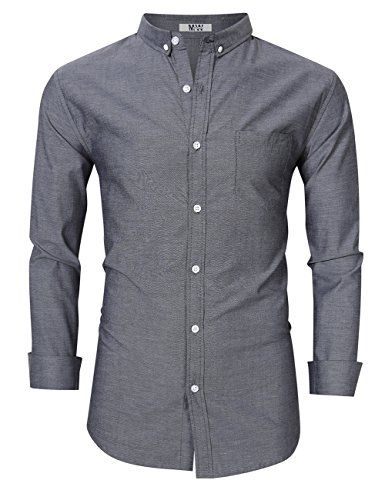 Men Basic Casual Regular Fit Button Down Dress Shirt Cotton Long Sleeve Solid Oxford Shirt