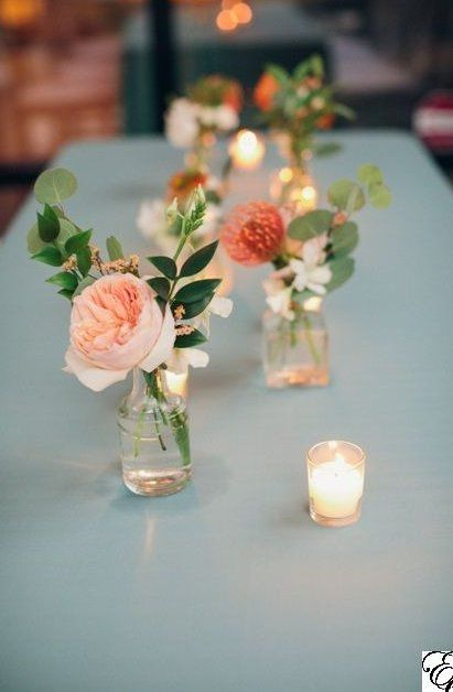Orange and Blue Coastal Wedding Small Bud Vases Centerpieces Designed by Engaging Events is part of Wedding vases - Wedding Vases, Wedding Table Centerpieces, Floral Wedding, Wedding Bouquets, Wedding Decorations, Orange Wedding Flowers, Wedding Ideas, Centrepieces, Orange Flowers