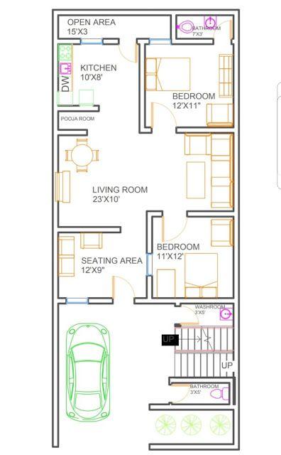 25x50 House Plan Housewala In 2020 20x30 House Plans 2bhk House Plan Narrow House Plans
